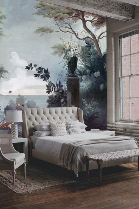 Фотообои райский сад. Такой роскошный рисунок способен сделать спальную комнату поистине уютной.