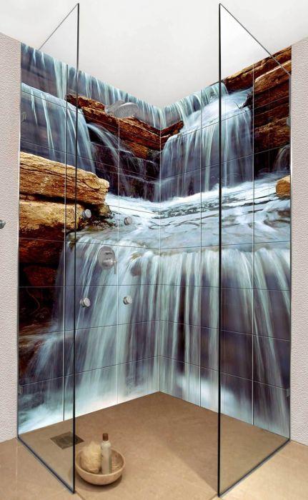 Водопад на стенах ванной комнаты подарит ощущение умиротворения и релакса.
