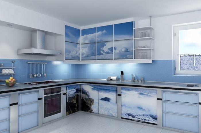 На линии горизонта. Фотообои с небесной и морской тематикой наполнят кухню лёгкостью и воздушностью.