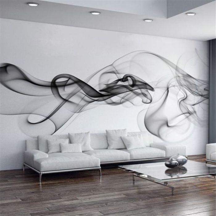 Имитация дыма. Такие фотообои сделают комнату светлее и просторнее.