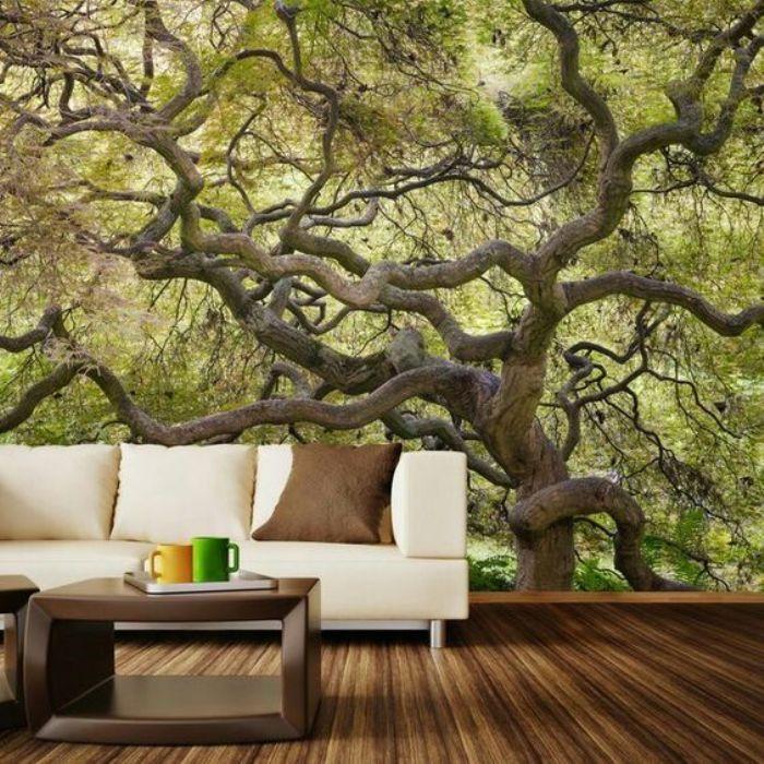 Объёмные фотообои с раскидистым деревом подарят ощущение весеннего настроения.