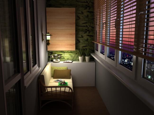 Небольшой диванчик - то, что идеально подойдёт для комфортного отдыха на балконе.
