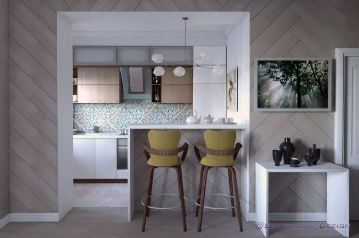 Столик-стойка делает маленькую кухню более функциональной, добавляя новые резервы.