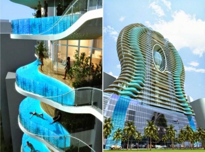 Современный жилой комплекс, главной особенностью которого являются бассейны с прозрачными стенками на балконах, с которых открывается замечательная панорама.