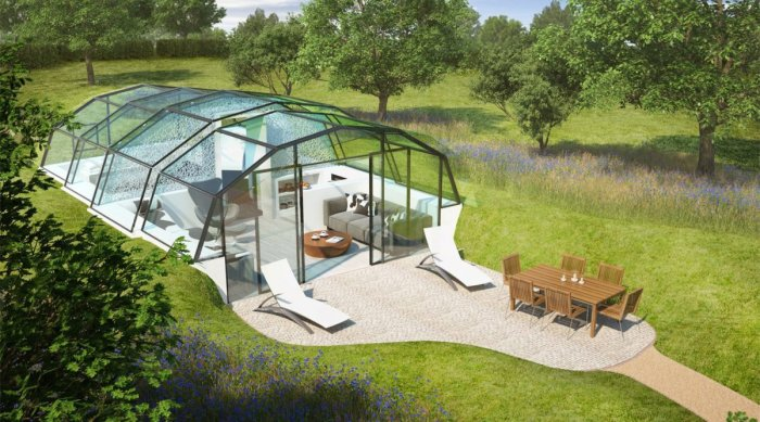 Этот стеклянный дом запросто можно установить в любом месте. А благодаря дневному свету, здесь всегда будет царить особая атмосфера спокойствия и умиротворения.
