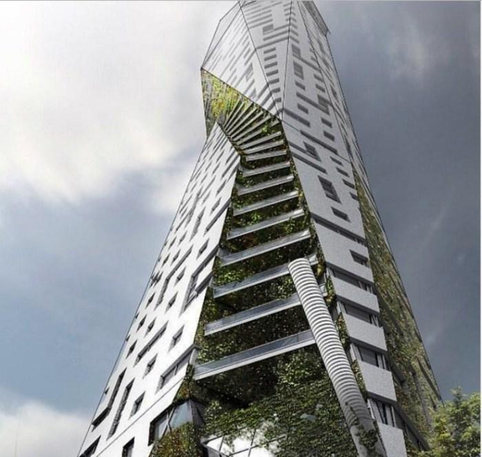 Проект Eco Tower рассчитан на то, чтобы соединить городской стиль и природу в жилом комплексе.