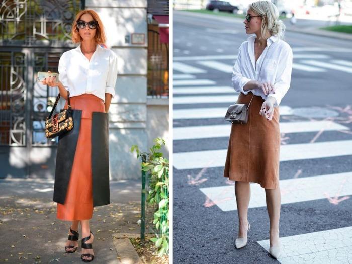 Белая рубашка под строгие юбки. \ Фото: shoppingschool.ru.