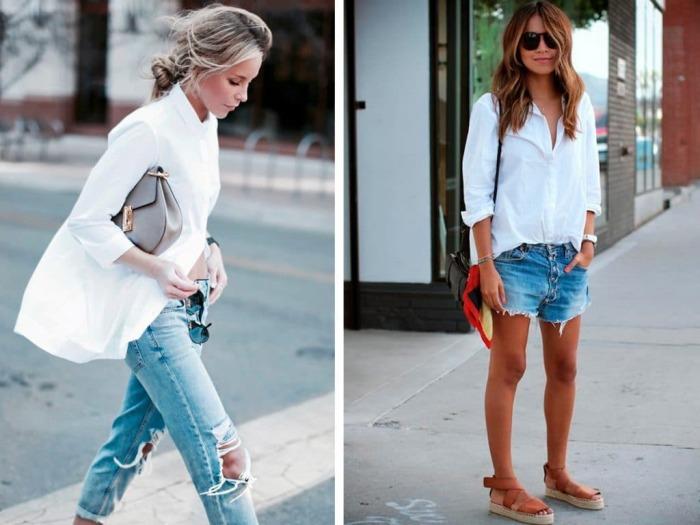 Сочетание белых рубашек и джинсового низа. \ Фото: womans.ws.