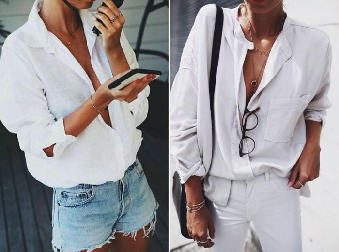 Белая рубашка для лета. \ Фото: pinterest.com.