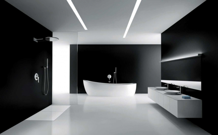 Ванная комната, выполненная в классической чёрно-белой гамме.