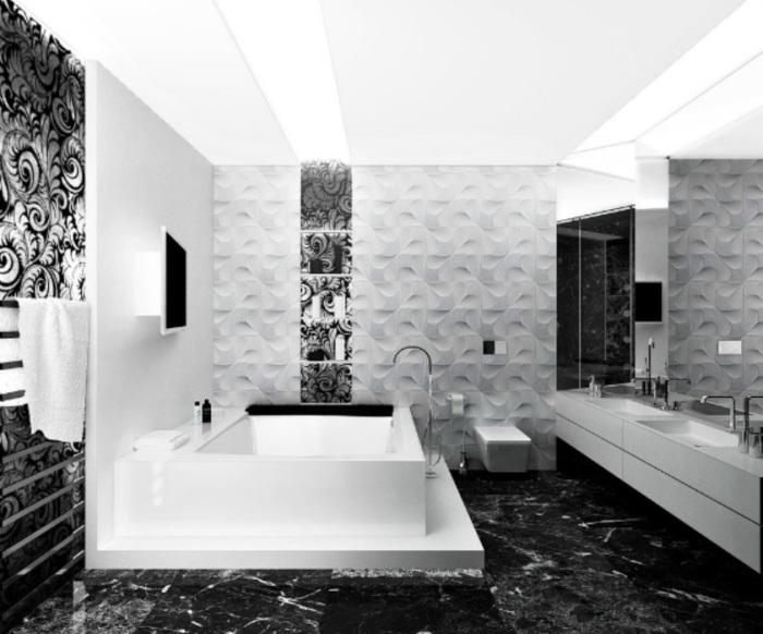 Декоративная объёмная плитка с чёрно-белым рисунком.