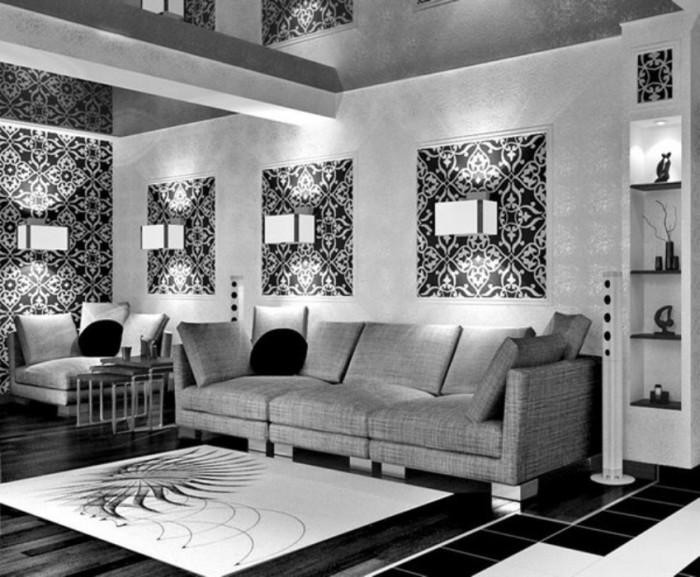 Дизайн гостиной с чёрными обоями.