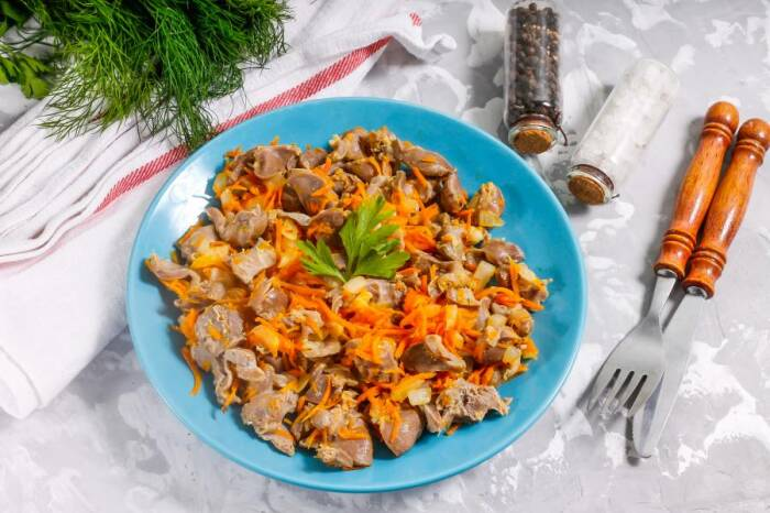 Куриные желудочки на сковороде. \ Фото: mamaclub.info.