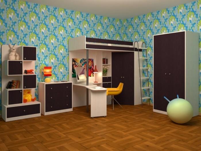 Чтобы атмосфера комнаты ребёнка располагала к учёбе или отдыху, выберайте мебель цвета венге.