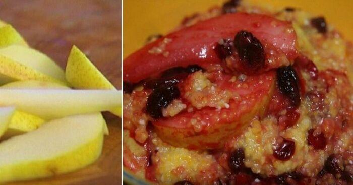 Кукурузный десерт с яблоками и грушами. \ Фото: yandex.ua.