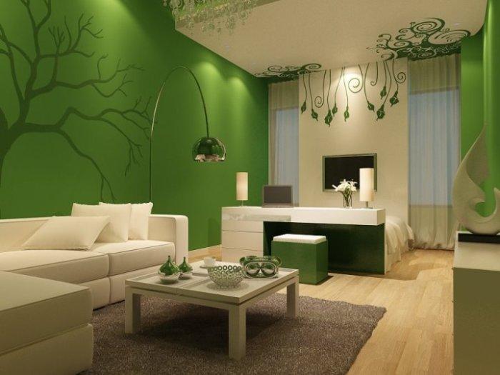 Зелёный цвет глубоких благородных оттенков сделает интерьер изысканным и даже «богатым».