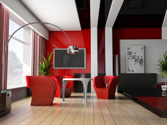 В умеренном количестве красный сделает гостиную стильной и очень модной. Добавлять к красному стоит коричневый, бежевый, белый, золотой, чёрный, цвет металла.