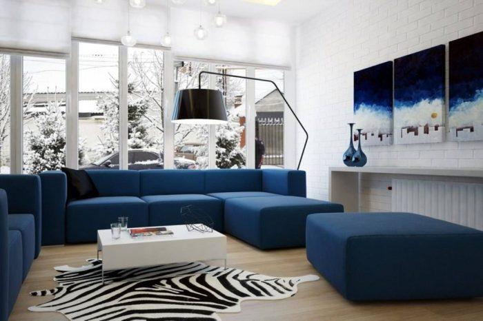 Синий цвет в правильном некричащем оттенке может долго служить фоном комнаты, ибо он – лёгок по восприятию и ненавязчив.