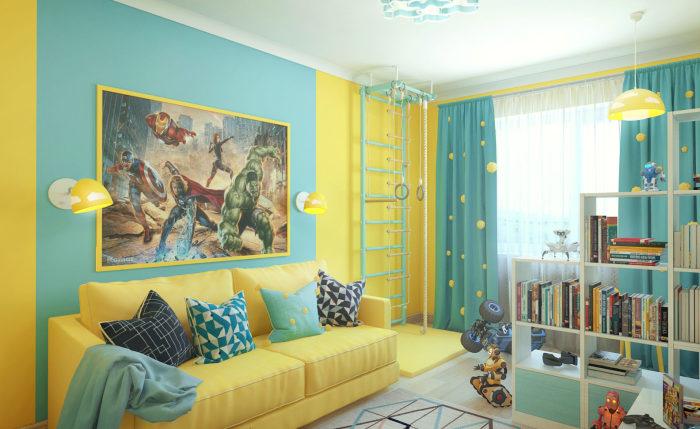 Жёлтый цвет отлично сочетается с белым, зелёным, голубым.