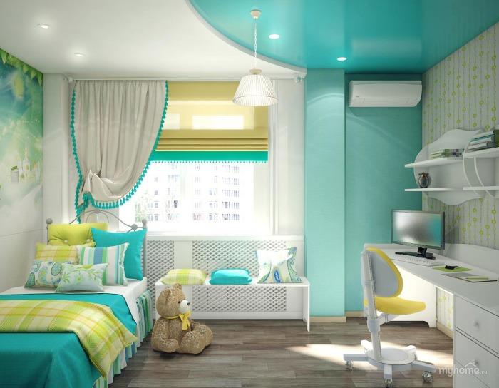 Если выбрать правильный оттенок бирюзового – комната будет любимым местом вашего ребенка. Ведь он мягкий по восприятию, и в то же время позитивен по энергетике.