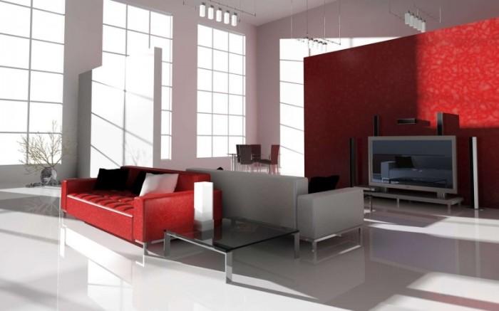 Красный в сочетании с белым и серым.