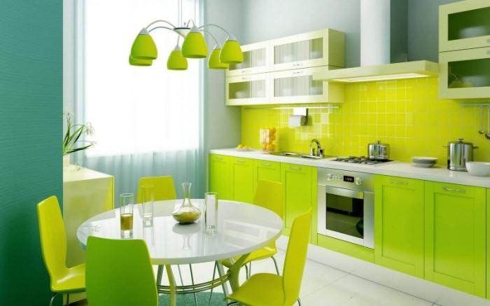 Салатовый или цвет лайма, а также зелёный цвет на кухне будет удачно смотреться в сочетании с белым, жёлтым, лимонным.