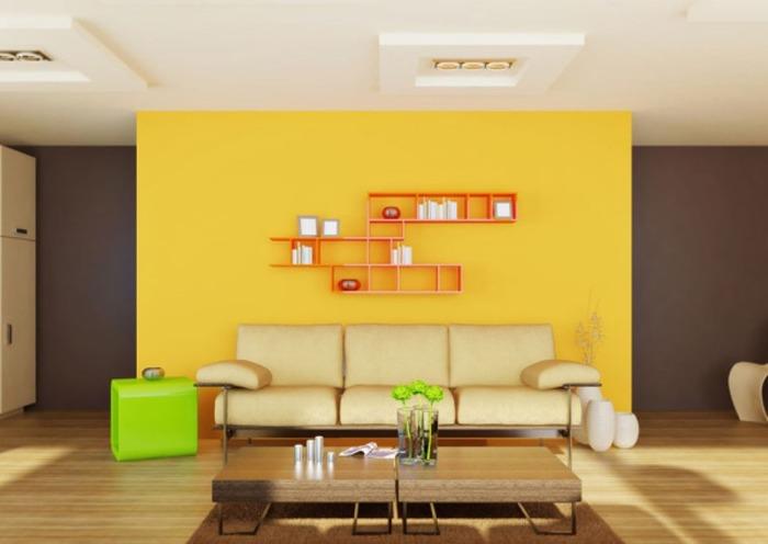 Коричнево-жёлтый интерьер гостиной.