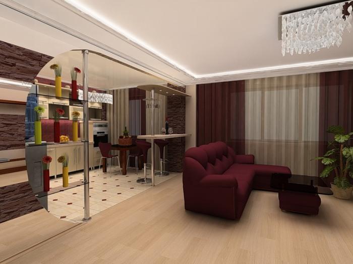 Благородный бардовый цвет в интерьере гостиной.