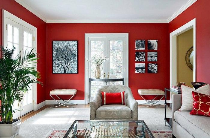 Красно-белая гостиная.