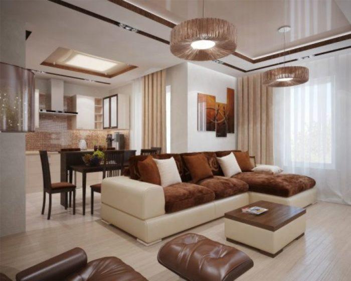 Шоколадно-сливочный цвет в интерьере гостиной.