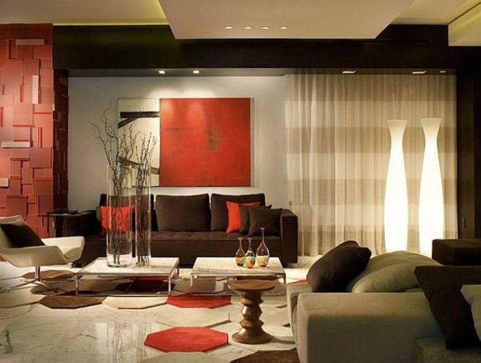 Коричнево-красный цвет в интерьере гостиной.