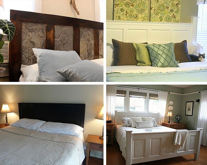 Отреставрированная, лакированная или выкрашенная под цвет спальни дверь отлично выполняет функцию спинки или изголовья кровати.