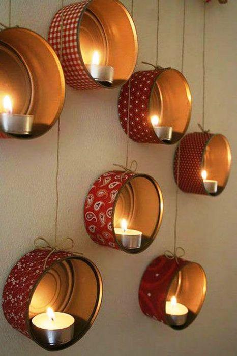 Оригинальные подвесные подсвечники из пустых консервных банок.