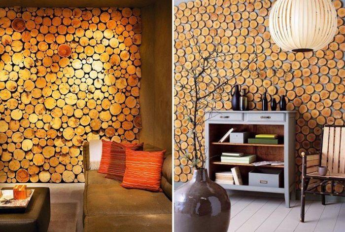 Дизайнерская стена из спилов дерева. Фото: google.ru.