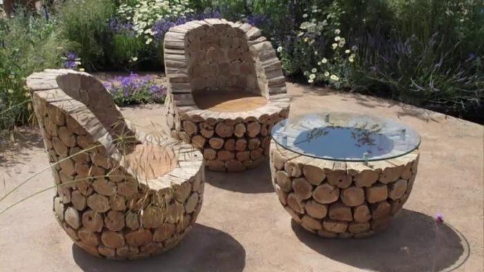 Оригинальная мебель из спилов дерева. \ Фото: google.com.