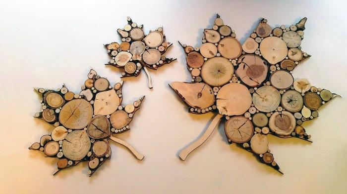 Подставки из спилов дерева. \ Фото: YouTube.com.