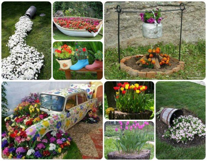 Не спешите выбрасывать старые вещи, они пригодятся для декора сада.