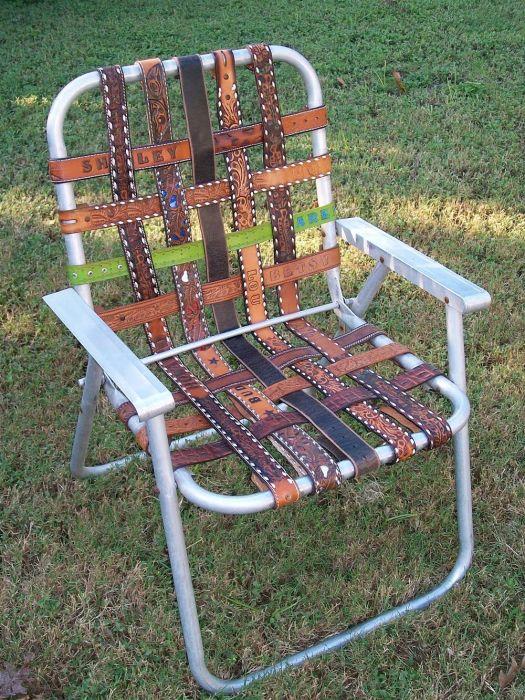 Кто бы мог подумать, что из обычных старых ремней и каркаса можно соорудить вполне удобное кресло для отдыха или рыбалки.