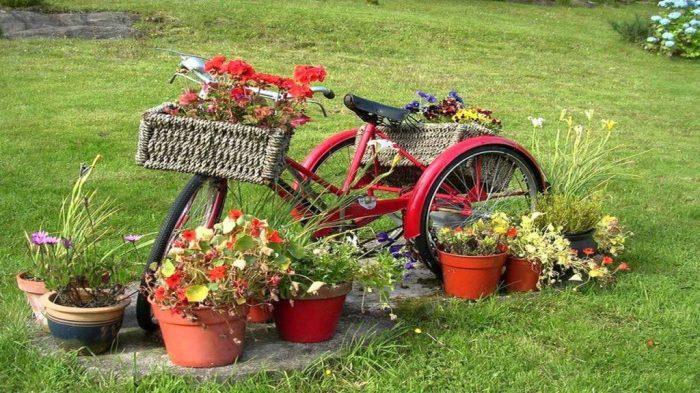 Старый велосипед превращается в симпатичную цветочную клумбу.