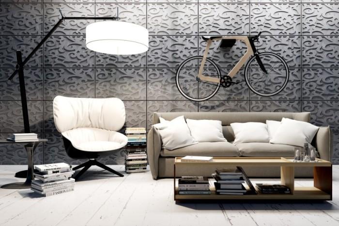 Данная идея с велосипедом на стене придётся по вкусу тем, кто хочет оказаться в центре внимания.