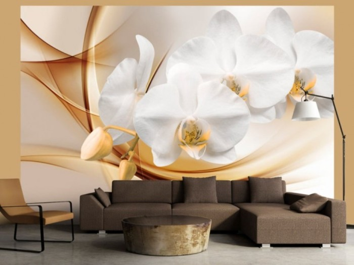 Нежные орхидеи подарят невероятное ощущение свежести. Светлый объёмный рисунок идеально гармонирует в комнате с тёмной мебелью.