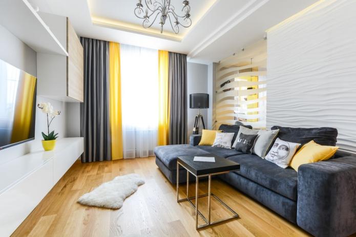 Стеновые 3D панели в оформлении гостиной с барельефом и горельефом подойдут для создания акцента даже в тон основных стен.