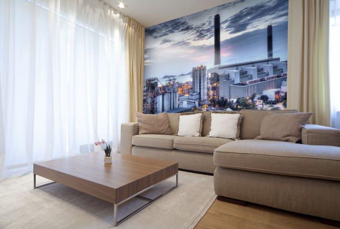 На фото пример оформления акцентной стены фотообоями в современной гостиной.