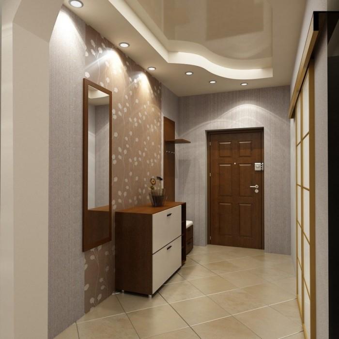 Если использовать глянцевый натяжной потолок, то из-за того, что будет отражаться свет, прихожая будет визуально больше и просторнее.