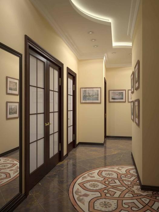 В последнее время мало кто использует сложные декорации в потолке, тем более в прихожей.