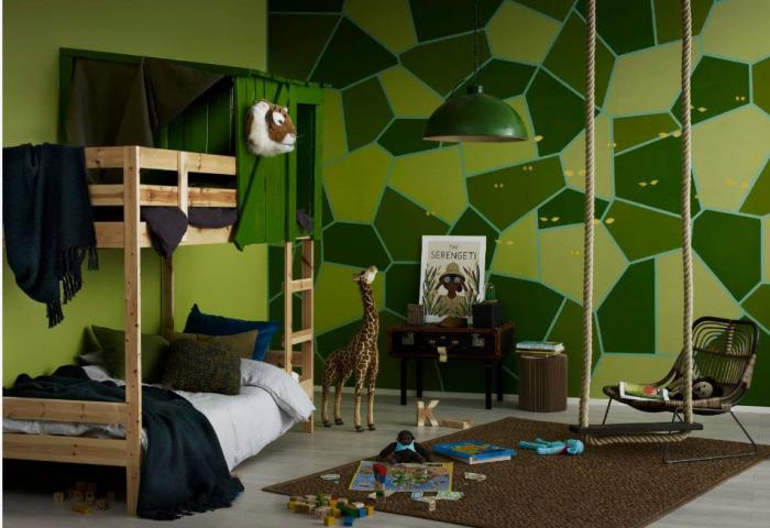 Спокойный зелёный цвет - идеально подойдёт для дизайна детской комнаты.