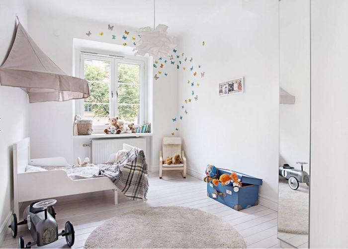 Белые стены в детской комнате будут всегда уместны независимо от возраста вашего ребёнка.