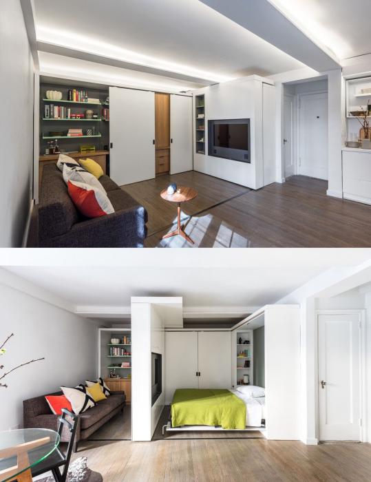 Раздвижные стены, скользящие от одного конца комнаты в другой, помогут разграничить дневные и ночные зоны.