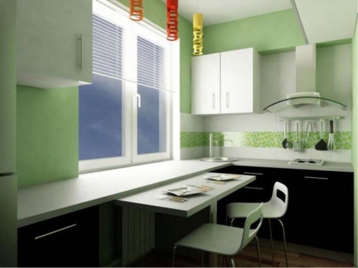 Складной столик - прекрасный вариант для маленькой кухни.