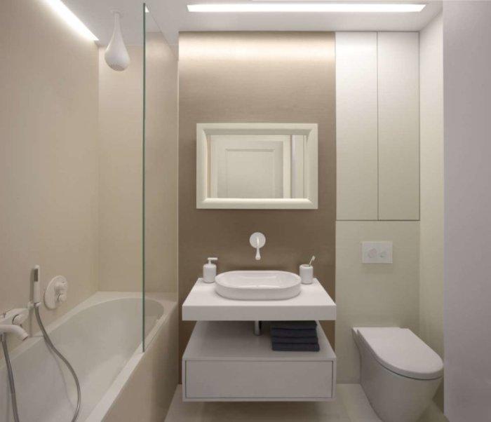 Идеальное современное решение для обустройства маленькой ванной комнаты.